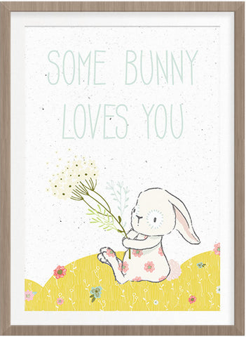 Some Bunny Loves You Free Art Print.