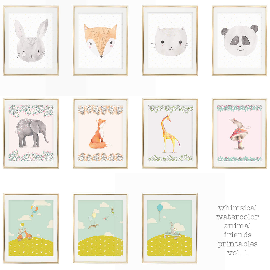 Animal Friends Printable Set Volume 1