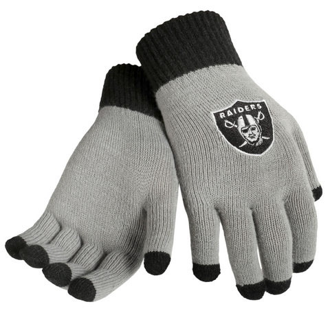 NFL Oakland Raiders Glove Solid Outdoor Winter Stretch Knit with Texting Tips