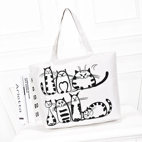 CATS Painted Canvas Handbag
