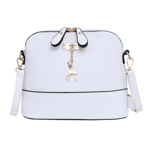 Mini Messenger Bags with Deer Decor White
