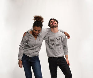 Grey crew neck sweater and grey zipped hoodie