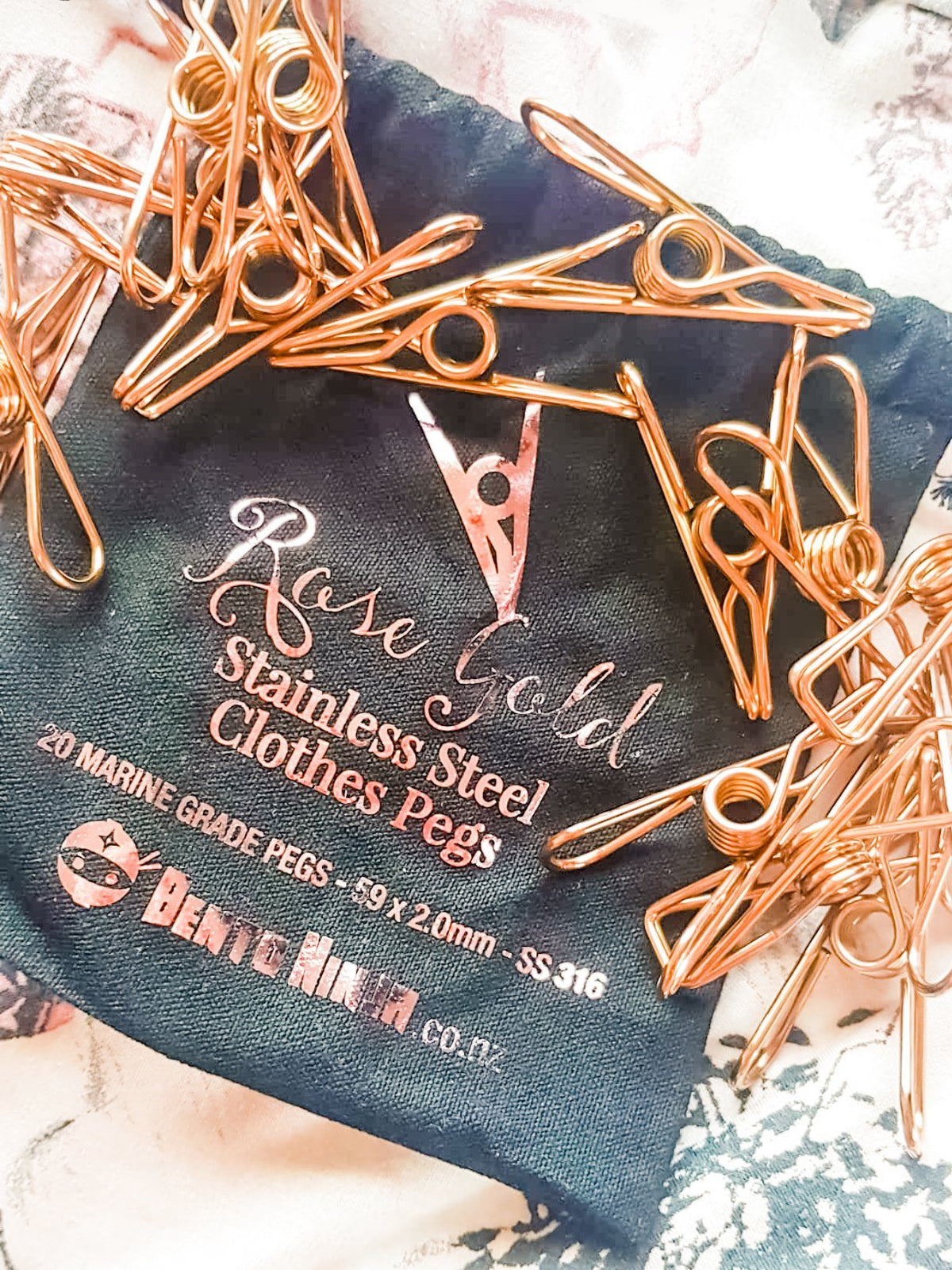 Stainless Steel Rose Gold Clothes Pegs 20pc