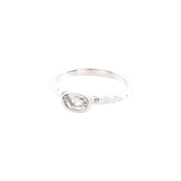Clear Quartz Stacking Ring - Oval