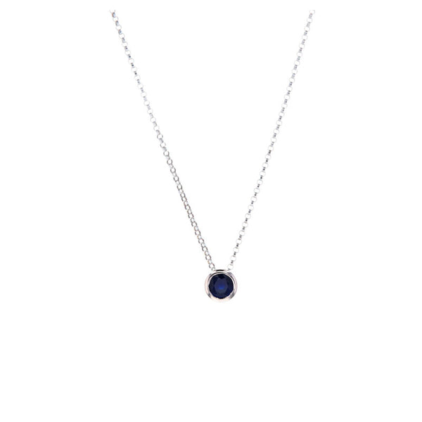 Sapphire Pendant Necklace for September