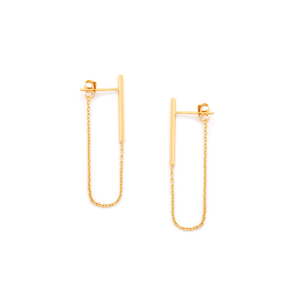 Column Chain Earring - Gold