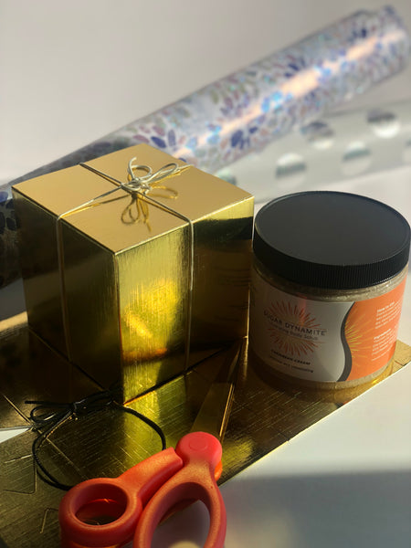 Gold Gift Box with Ribbon