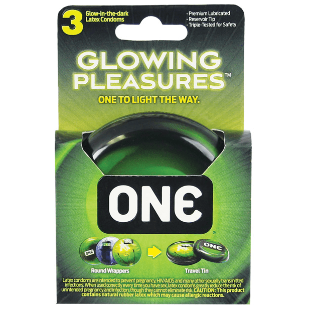 Glowing Pleasures Condoms 3-Pack by ONE Condoms - rolik