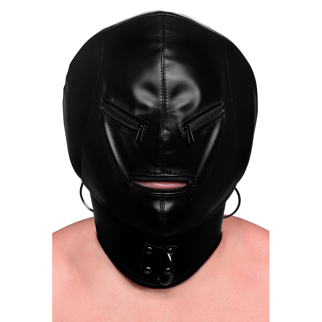 Bondage Hood with Posture Collar + Zippers by XR Brands - rolik