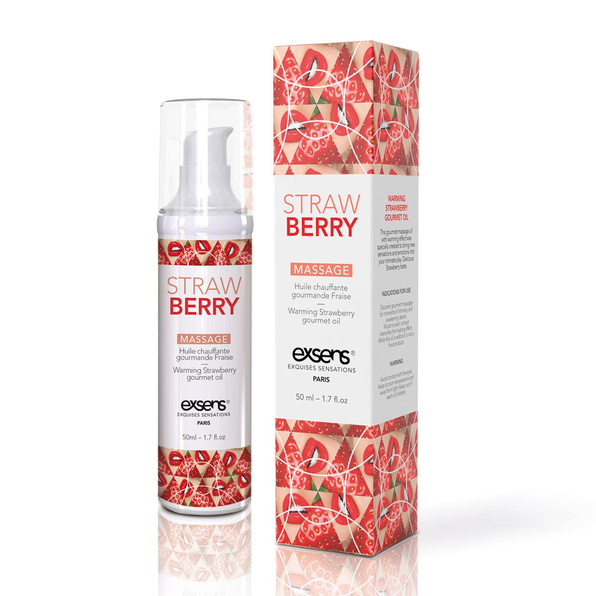 Warming Massage Oil Strawberry by Exsens - rolik
