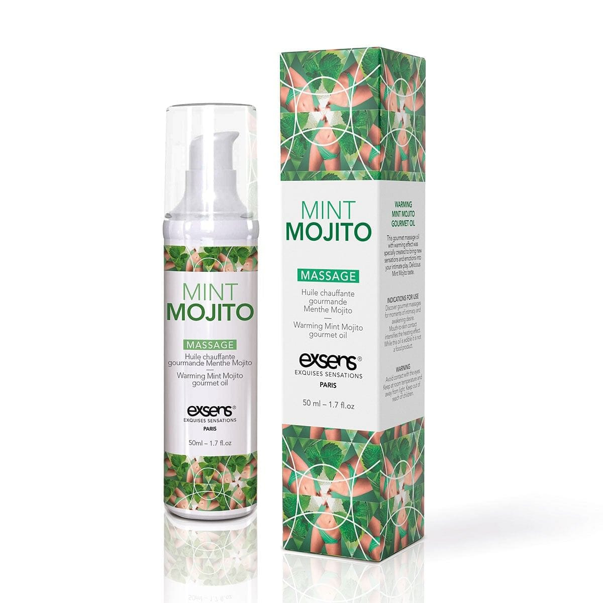 Warming Massage Oil Mint Mojito by Exsens - rolik