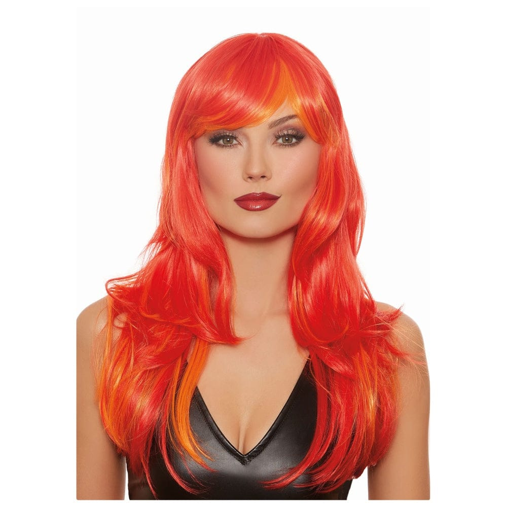 Dreamgirl® Long Straight Red and Orange Wig With Bangs - Rolik®
