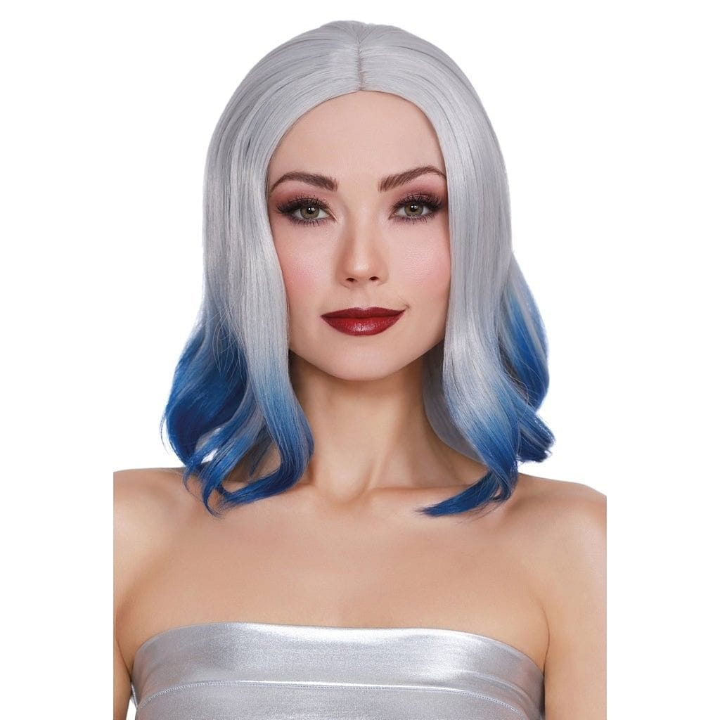 Dreamgirl® Shoulder Length Wig With Bangs and Bottom Curl Silver and Blue - Rolik®