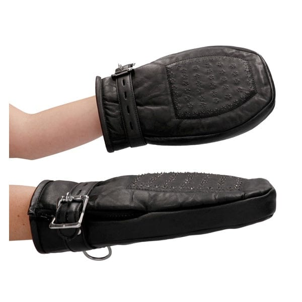 Shots Ouch! Pain Leather Padded Bondage Mittens With Metal Teeth - Rolik®
