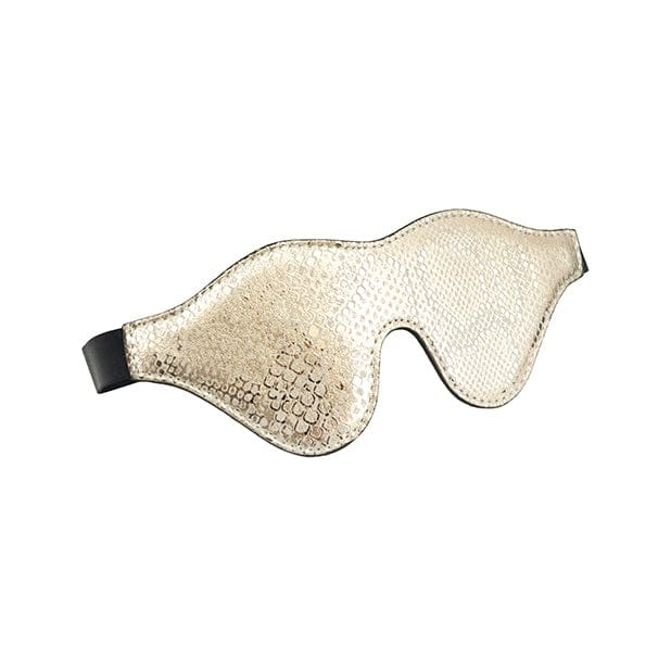 Spartacus™ Leather Blindfold w/ Snakeskin Print Gold - Rolik®