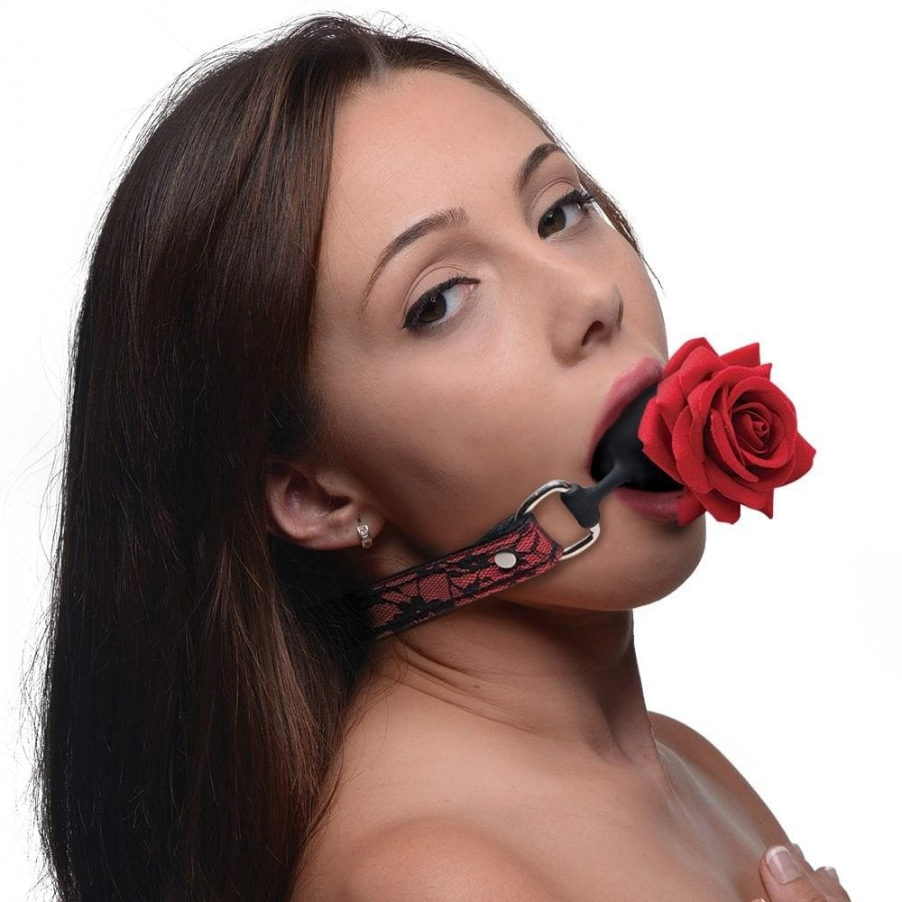 XR Brands® Master Series Silicone Ball Gag with Rose - Rolik®