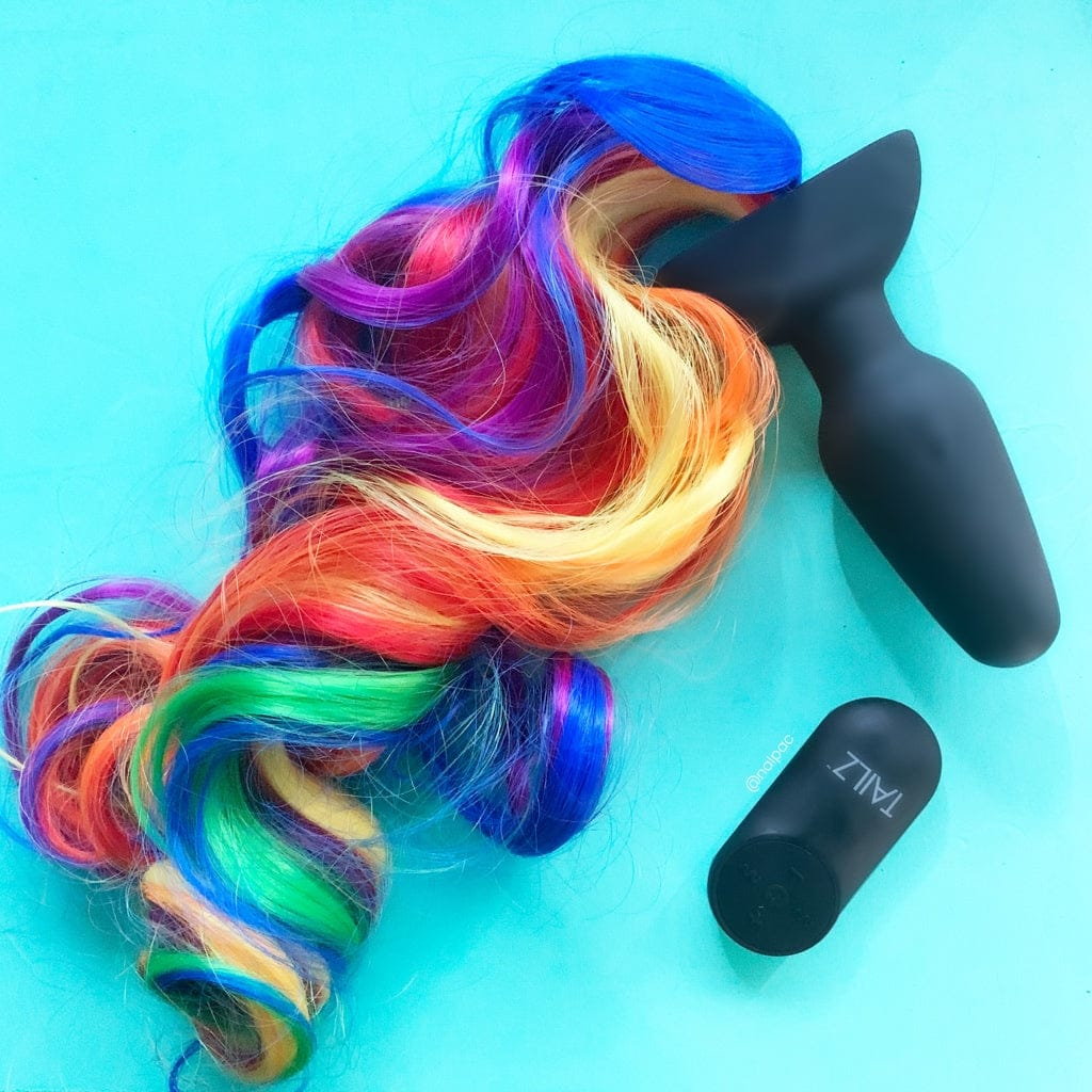 XR Brands® Tailz™ Rainbow Pony Tail Vibrating Butt Plug w/Remote - Rolik®