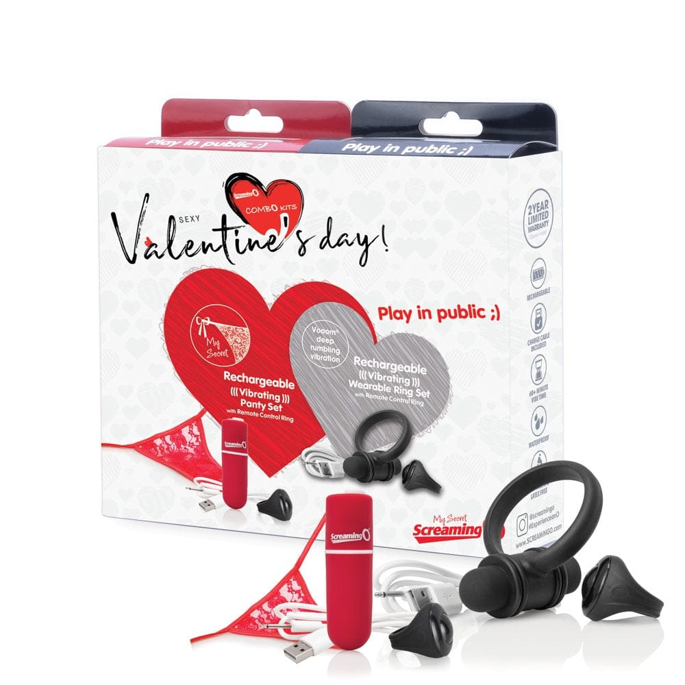 Screaming O® Sexy Valentine's Day 'Play in Public' Panty Vibe/C-Ring Combo Kit - Rolik®