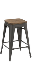 "30"" Industrial Metal Vintage Stackable Distressed Counter Bar Stool Wood top- 2"