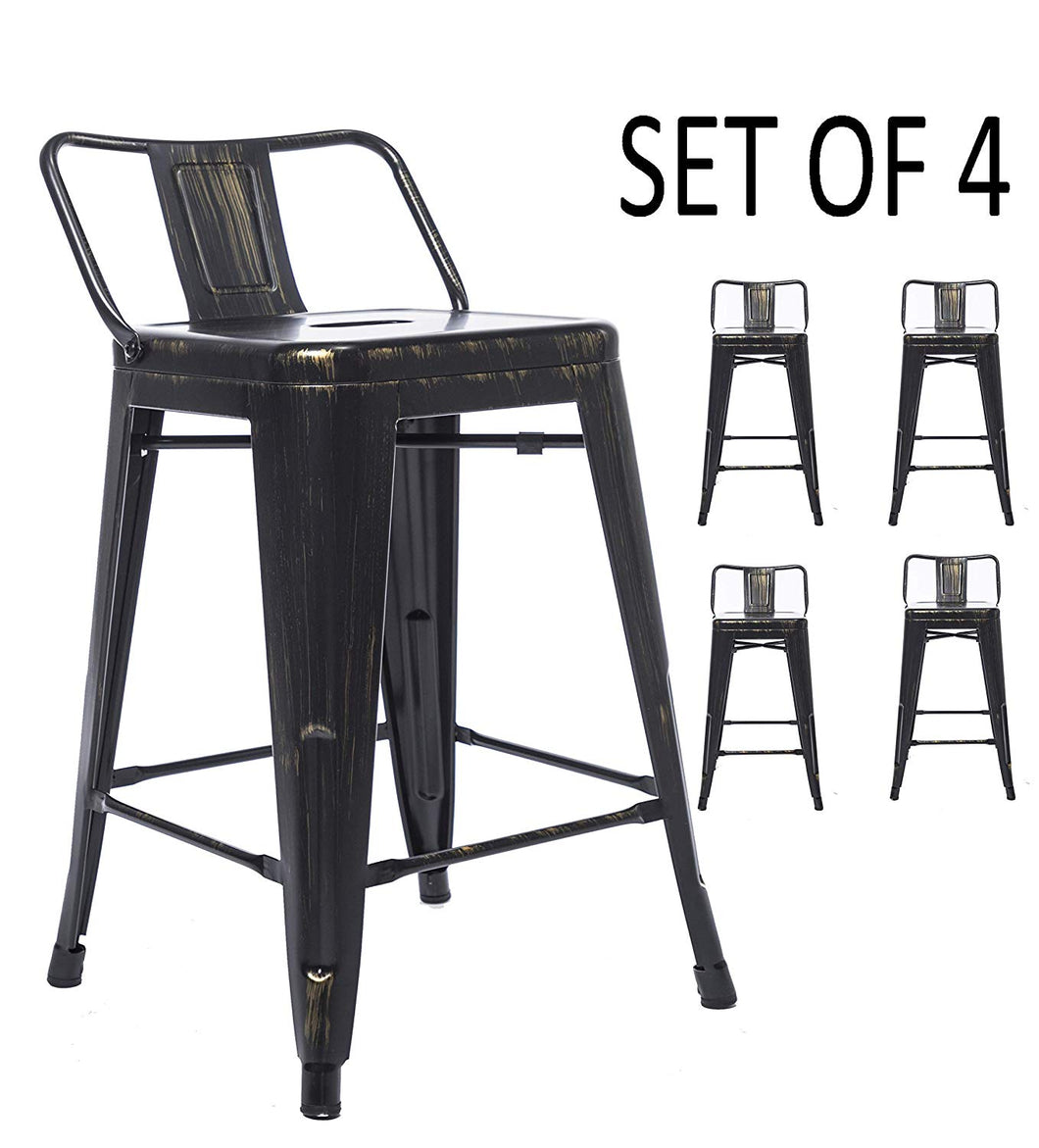 BTEXPERT Industrial 30 inch Golden Black Distressed Kitchen Chic Indoor Outdoor Low Back Metal Bar Stool 4PC