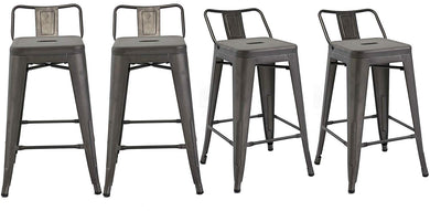 BTEXPERT Industrial 30 inch Rustic Distressed Kitchen Chic Indoor Outdoor Low Back Metal Bar Stool 4PC