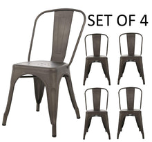 BTExpert Metal Distressed Rustic Chic Indoor Outdoor Stackable Bistro Cafe Dining Side Chairs Set of 4