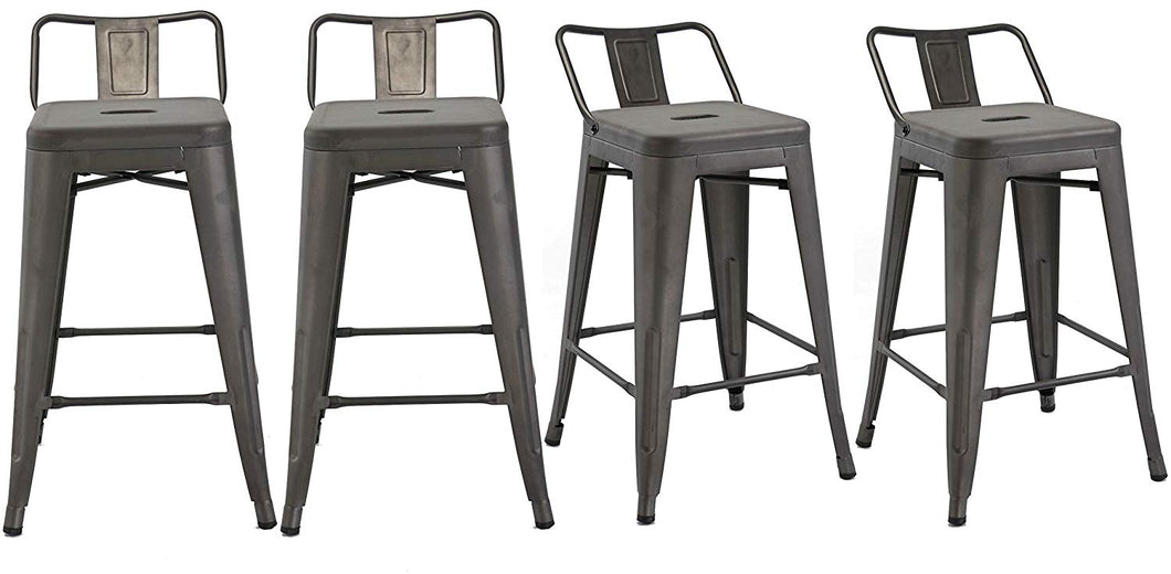 BTEXPERT Industrial 24 inch Rustic Distressed Kitchen Chic Indoor Outdoor Low Back Metal Counter Height Stool