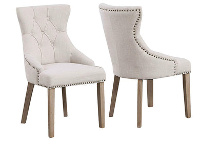 High Back Tufted Parsons Upholstered Padded Dining Room Chairs Side Solid Wood-Accent Nail Trim Linen Beige