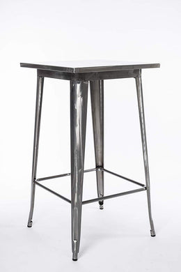 BTExpert Industrial Antique Distressed Rustic Steel Metal Dining Pub Square Table 23.5