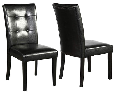Tufted Parsons Upholstered Padded Dining Room Chairs Side Solid Wood-Accent Faux Leather Black