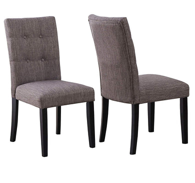 Tufted Parsons Upholstered Padded Dining Room Chairs Side Solid Wood-Accent Linen Beige Grey