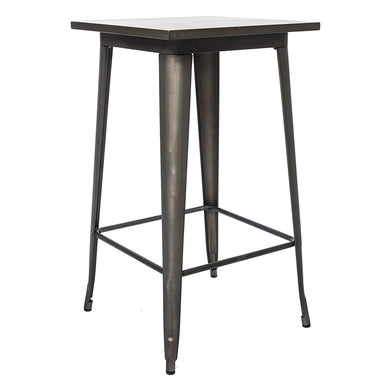 BTExpert Industrial Antique Distressed Bronze Rustic Steel Metal Dining Pub Square Table 23.5