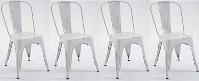 BTExpert Metal White Distressed Chic Indoor Outdoor Stackable Bistro Cafe Dining Side Chairs Set of 4