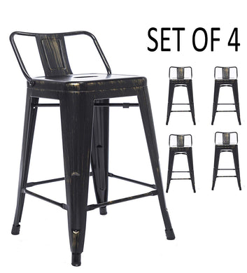 BTEXPERT Industrial 24 inch Golden Black Distressed Kitchen Chic Indoor Outdoor Low Back Metal Counter Height Stool