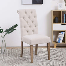High Back Tufted Parsons Upholstered Padded Dining Room Chairs Side Solid Wood-Accent