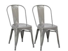 Industrial Vintage Stackable Metal Distressed Dining Bistro Cafe Side Chair-2