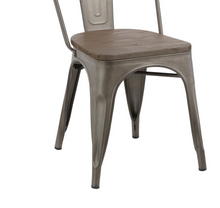 Industrial wood Metal Antique Bronze Rustic Distress Dining Bistro Side Chair-4