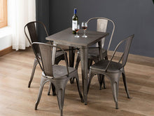 BTExpert Industrial Antique Distressed Sqaure Rustic Metal Dining Table Indoor Outdoor