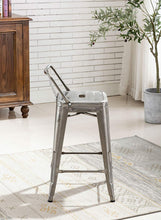 BTEXPERT Industrial 24 inch Galvanized Distressed Kitchen Chic Indoor Outdoor Low Back Metal Counter Height Stool
