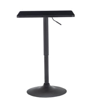 Black Adjustable 27-36 Height Industrial Height Metal Bar Table Swivel Square Cocktail Wood Top Cocktail Pub Bistro