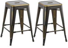 "24"" inch Metal Vintage Copper Distressed Counter Bar Stool Modern Set of 2"