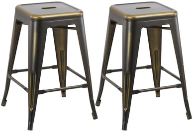 24inch Metal Vintage Copper Distressed Counter Bar Stool Modern Set of 2
