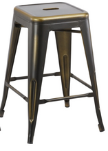 "24"" inch Industrial Vintage Antique Copper Distressed Counter Bar Stool Set of 4"