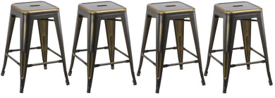 24inch Industrial Vintage Antique Copper Distressed Counter Bar Stool Set of 4