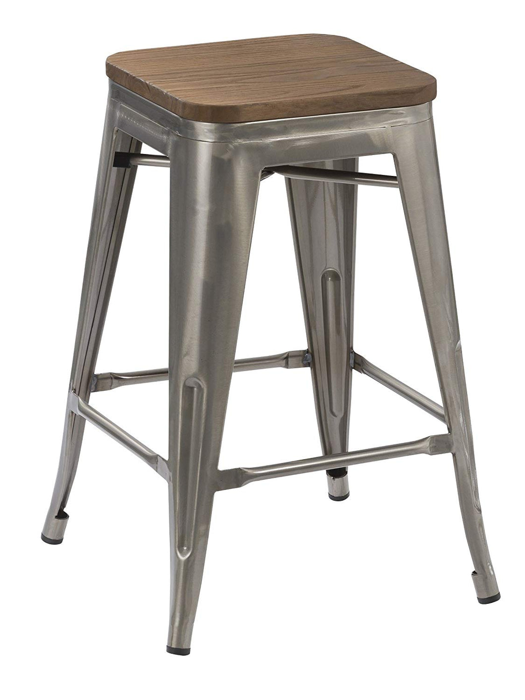 meilleure sélection b4c09 69c20 BTEXPERT 24-inch Industrial Stackable Tabouret Metal Vintage Antique Rustic  Style Clear Brush Distressed Counter Bar Stool Modern wood top seat ...