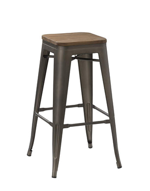 BTEXPERT Modern 30 inch Solid Steel Stacking Industrial Tabouret Rustic Metal Bar Stool with Wood Top ( barstool)