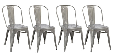 Industrial Vintage Stackable Metal Distressed Dining Bistro Cafe Side Chair-4
