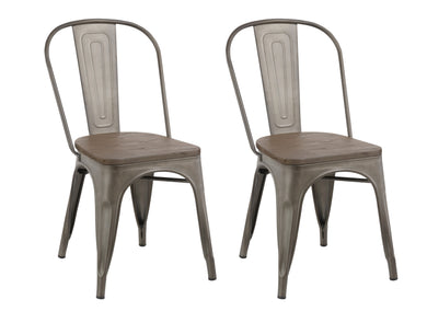 Industrial Metal Antique Bronze Rustic Distress Dining Bistro Cafe Side Chair-2