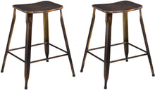"24"" Metal Stackable Antique Distressed Copper Slim Backless Counter Bar Stool -2"