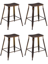 "24"" Industrial Metal Antique Distressed Copper Slim Counter Bar Stool Set of 4"
